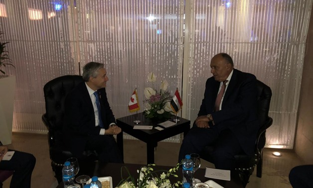 Egyptian Foreign Minister Sameh Shoukri and his Canadian counterpart François-Philippe Champagne probed on Wednesday means of boosting bilateral relations - Press photo