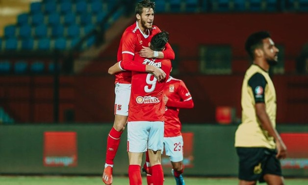 File- Al-Ahly players celebrate scoring against Degla, photo courtesy of Al-Ahly official twitter account