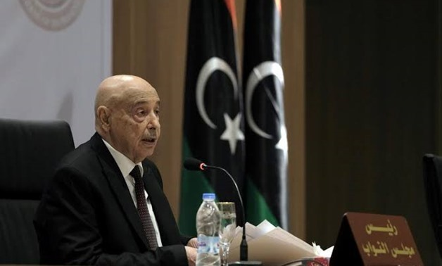 Aguila Saleh, Libya's parliament president, speaks during the first session at parliament headquarters in Benghazi, Libya April 13, 2019. REUTERS/Esam Omran Al-Fetori