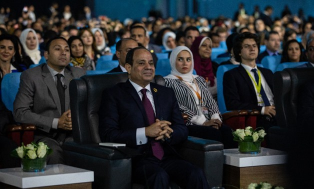 """President Abdel-Fatah al-Sisi during the session """"Artificial Intelligence & Humans: Who is in Control?"""" at the 2019's the World Youth Forum - Via Twitter"""