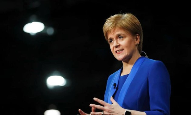 Scottish National Party leader Nicola Sturgeon speaks at a counting center for Britain's general election in Glasgow, Britain. (REUTERS)