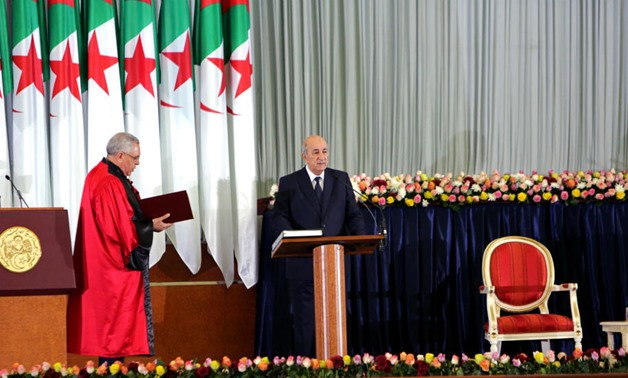 Newly elected Algerian President Abdelmadjid Tebboune takes the oath during a swearing-in ceremony in Algiers, Algeria December 19, 2019. Ramzi Boudina, REUTERS