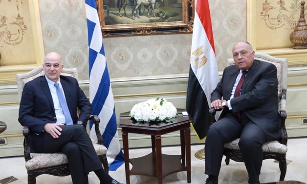 Greek Foreign Minister Nikos Dendias made a short visit to Cairo coming from Libya, during which he met Shoukry - Courtesy of the Egyptian Foreign Ministry