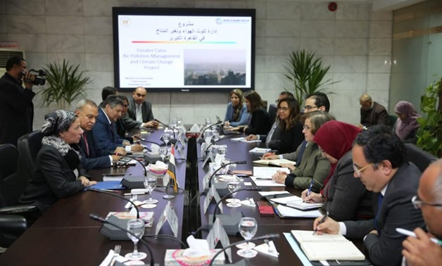 Environment Minister Yassmin Fouad met on Wednesday with officials from the World Bank to discuss preparing a project on climate change and air pollution control in Greater Cairo - Courtesy of the Environment Ministry