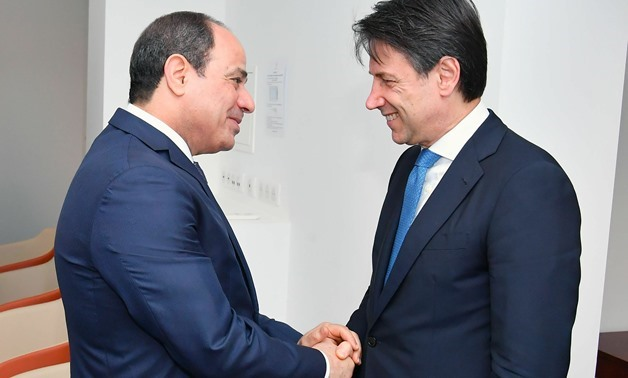 FILE - President Sisi (L) meets Italy's Giuseppe Conte on the sidelines of the G7 Summit in France, August, 2019