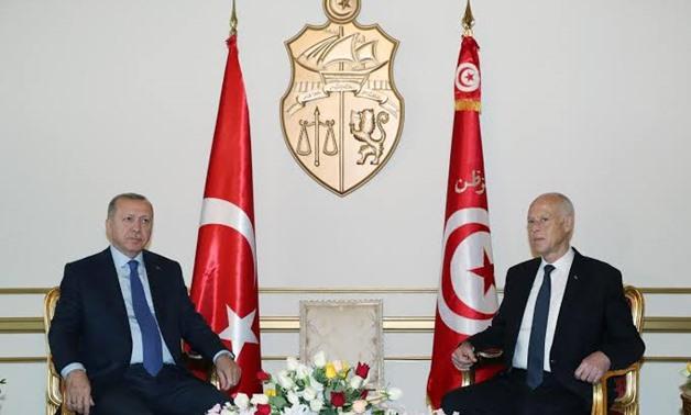 Turkey's President Tayyip Erdogan meets with Tunisia's President Kais Saied in Tunis, Tunisia December 25, 2019. Murat Cetinmuhurdar/Turkish Presidential Press Office/Handout via REUTERS