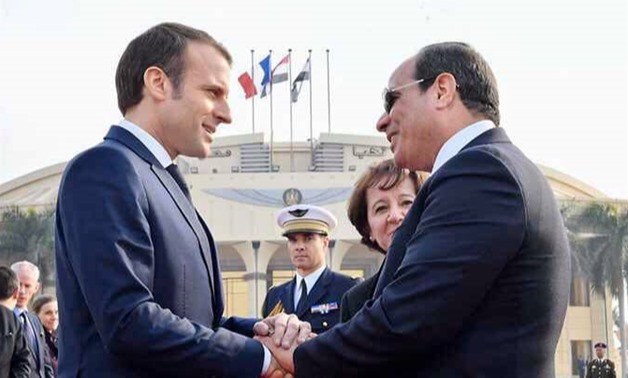 French President Emmanuel Macron (L) meets with Egyptian President Abdel Fattah el-Sisi - Courtesy of the Presidency