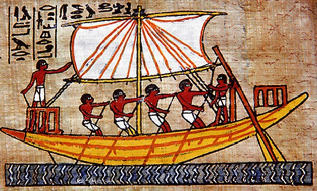 Example of an ancient Egyptian boat on a piece of Papyrus - Wiki