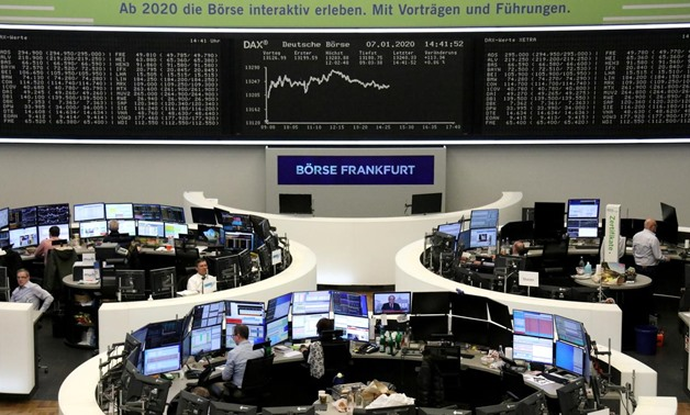 FILE PHOTO: The German share price index DAX graph is pictured at the stock exchange in Frankfurt, Germany, January 7, 2020. REUTERS/Staff