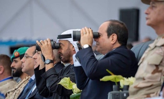 President Abdel-Fattah el-Sisi on Wednesday, along with UAE Crown Prince Mohamed bin Zayed, attend the inauguration of Berenice military base, south of the Red Sea - Press photo