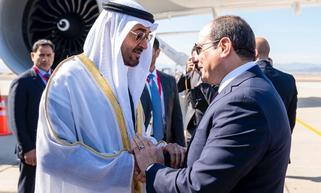 President Sisi (R) meets with Abu Dhabi Crown Prince Mohamed bin Zayed during the opening of the Berenice military base south of Red Sea - Press photo