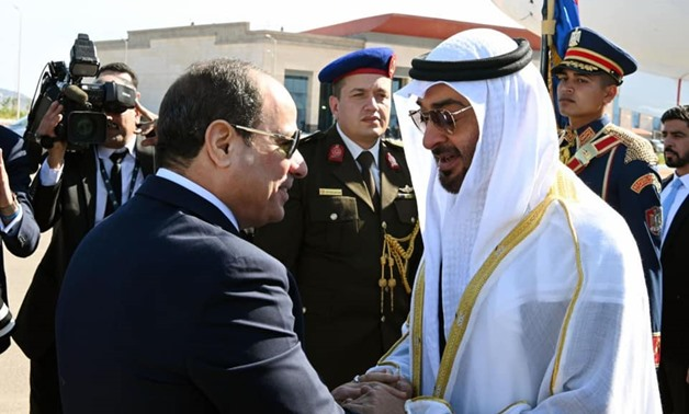 FILE - President Sisi and Abu Dhabi Crown Prince Mohamed bin Zayed attend the opening of Berenice military base