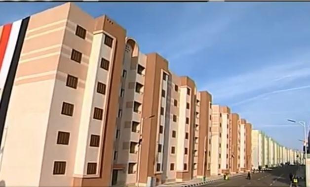 The social housing project Mahrousa 1 located in Al Jabal Al Asfar in Daqahliyah governorate. December 15, 2018. TV screenshot.