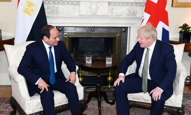 President Abdel Fatah al-Sisi met with British Boris Johnson Tuesday - Press Photo
