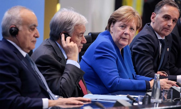From left, UN Special Representative Ghassan Salame; UN Secretary-General Antonio Guterres; German Chancellor Angela Merkel and German Foreign Minister Heiko Maas give a press conference after a summit on Libya held in Berlin. Photo: AFP