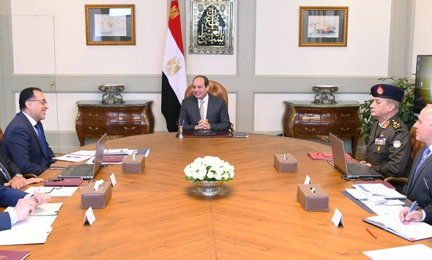 Egypt's President Abdel Fattah al-Sisi on Wednesday met with a number of ministers, to discuss the issue of the construction of the Grand Ethiopian Renaissance Dam (GERD) - Courtesy of the Presidency