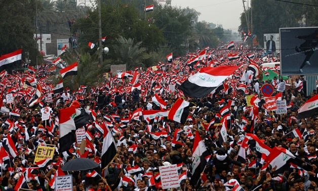 Supporters of Iraqi Shi'ite cleric Moqtada al-Sadr protest against what they say is U.S. presence and violations in Iraq, during a demonstration in Baghdad, Iraq January 24, 2020. REUTERS/Alaa al-Marjani