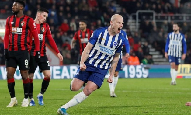 FILE PHOTO: Soccer Football - Premier League - AFC Bournemouth v Brighton & Hove Albion - Vitality Stadium, Bournemouth, Britain - January 21, 2020 Brighton & Hove Albion's Aaron Mooy celebrates scoring their first goal REUTERS/David Klein