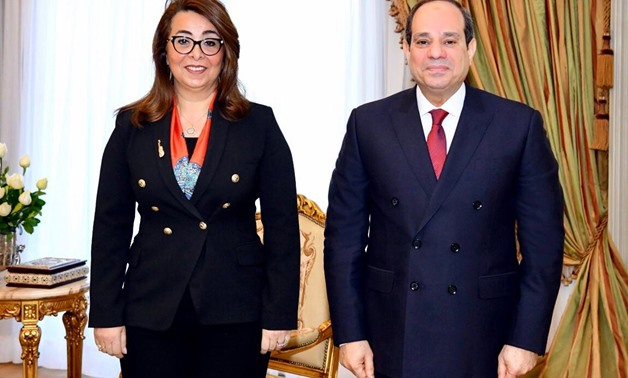 President Sisi and the new director‑general of the UN Office on Drugs and Crime (UNODC) Ghada Waly pose for a photo on Sunday- press photo