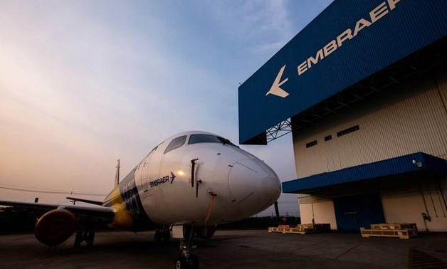 An Embraer E-175 jet sits outside the factory for Embraer's E-Jet family - Reuters