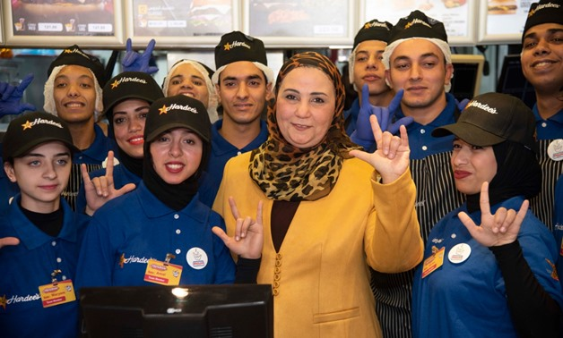 Minister of Social Solidarity Niveen el Qebbag inaugurated a restaurant in Nasr City, eastern Cairo, run by hearing impaired staff- press photo