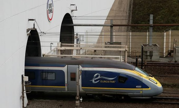 FILE PHOTO: An Eurostar high speed train enters the Channel Tunnel in Coquelles, near Calais France, March 1, 2019. REUTERS/Pascal Rossignol/File Photo