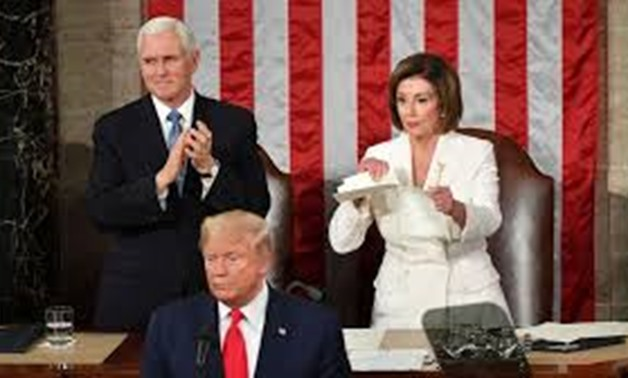 Speaker of the House Nancy Pelosi (D-CA) rips up the speech of U.S. President Donald Trump after his State of the Union address to a joint session of the U.S. Congress in the House Chamber of the U.S. Capitol in Washington, U.S. February 4, 2020. REUTERS/
