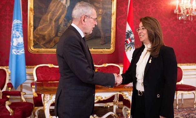 President of Austria Alexander Van der Bellen welcomed Wednesday Ghada Waly, the executive director of the United Nations Office on Drugs and Crime (UNODC), and congratulated her on assuming her new position - Press Photo