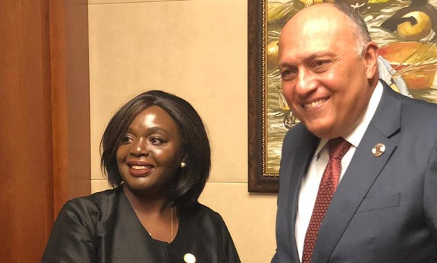 Foreign Minister Sameh Shoukry with his Kenyan counterpart Raychelle Omamo on the sidelines of the 36th session of the Executive Council of the African Union in Addis Ababa, Thursday February 6, Press Photo