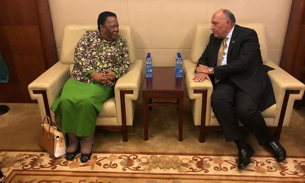 Egyptian Foreign Minister Sameh Shoukry meets with his South African counterpart Naledi Pandor on the sidelines of the 36th session of the Executive Council of the African Union in Addis Ababa on February 7, 2020- press photo