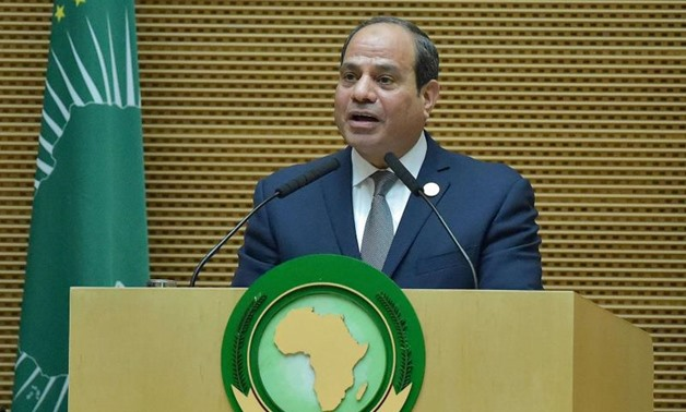 FILE- Egyptian President and new African Union chairperson Abdel Fattah al-Sisi speaks during the 32nd African Union (AU) summit in Addis Ababa on February 10, 2019. (AFP)
