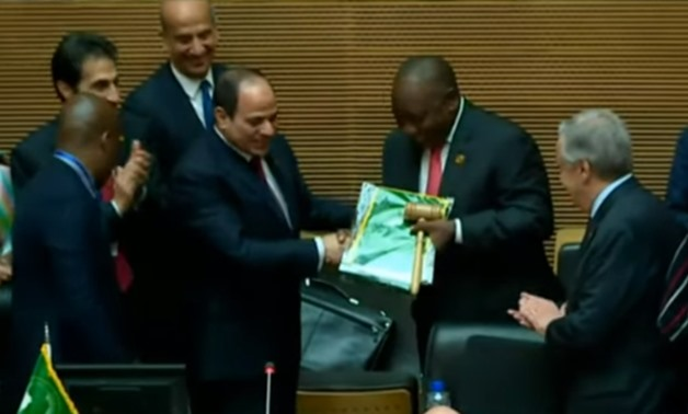 Egyptian President Abdel Fattah el-Sisi on Sunday handed over the presidency of the African Union to South Africa for a year - Screenshot/state's TV