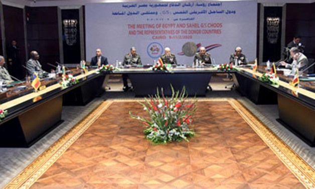 Egyptian Chief of Staff Mohamed Farid and G5 Sahel chiefs of staff in a meeting in Cairo on February 9-11, 2020. Press Photo