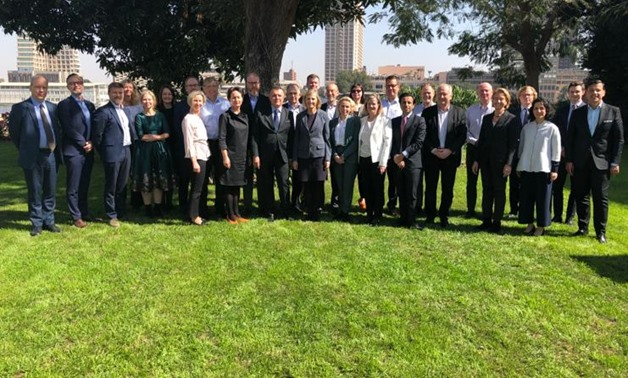 Participants of the annual meeting of Swedish Ambassadors in the MENA region pose for a photo- press photo