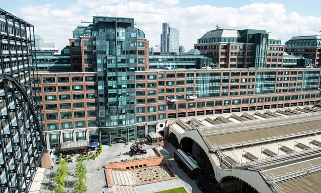 FILE - View across Exchange Square of the European Bank for Reconstruction and Development Headquarters (EBRD), London, United Kingdom, 2015 - EBRD/Dermot Doorly