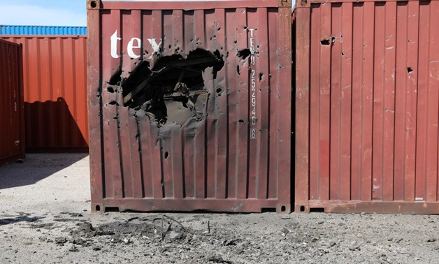 A damaged container is seen at Tripoli port after an attack, Libya February 19, 2020. REUTERS/Ismail Zitouny