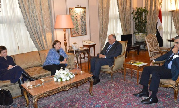 Egyptian Foreign Minister Sameh Shoukry meets with EU Special Representative for the Middle East Peace Process Susanna Terstal - press photo