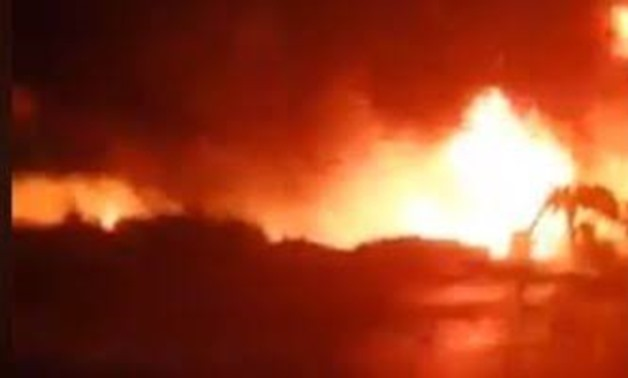 Screenshot of a video circulated on social media of a blaze caused by an oil pipeline vandalism in Beheira governorate. November 13, 2019