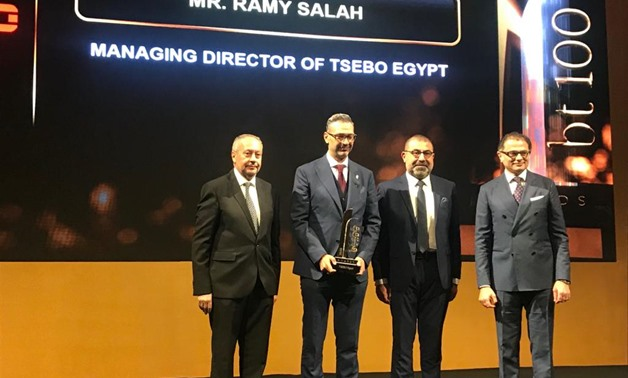 TSEBO Egypt has won leading role award in food industries solutions and integrated solutions at bt100 Awards, Tuesday - Egypt Today