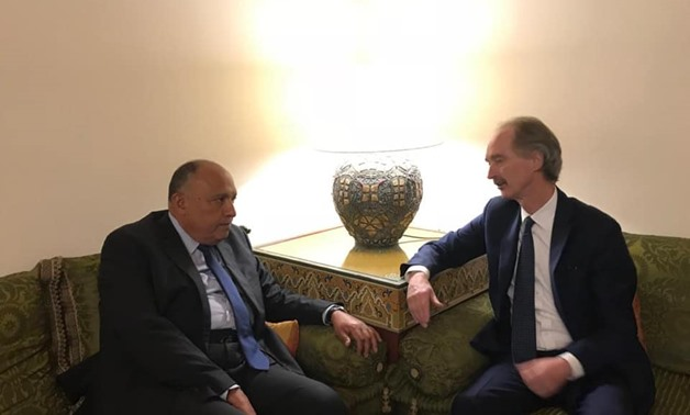Egyptian Foreign Minister Sameh Shoukry meets with United Nations special envoy for Syria Geir Pedersen - Courtesy of the Foreign Ministry