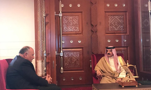 Egyptian Foreign Minister Sameh Shoukry meets with Bahrain's King Hamad bin Isa Al-Khalifa in Bahrain - Courtesy of the Egyptian Foreign Ministry