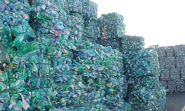 Plastic constitutes six percent of waste in Egypt. Image of crushed PET bottles - Matthewdikmans via Wikimedia Commons