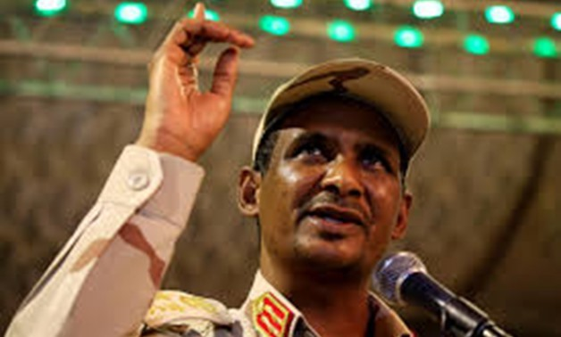 FILE PHOTO: General Mohamed Hamdan Dagalo, head of the Rapid Support Forces (RSF) and deputy head of the Transitional Military Council (TMC) delivers an address after the Ramadan prayers and Iftar organized by Sultan of Darfur Ahmed Hussain in Khartoum -