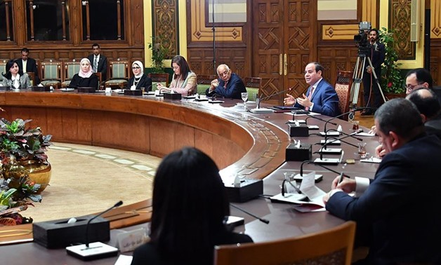 President Abdel Fattah al-Sisi meets with Prime Minister Mostafa Madbouli and a number of ministers and Egyptian women, as Egypt celebrates its own Women's day – Courtesy of the Presidency