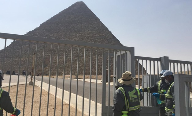 Part of the sterilization process launched in the pyramids' antiquities region by the Ministry of Tourism and Antiquities on March 25 - ET