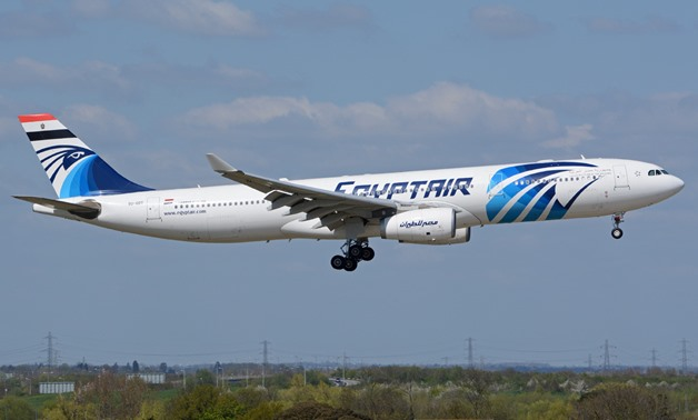 EgyptAir Airbus A330-300 on finals into LHR. Still with the flag added on the tail and 'Arab Republic of Eqypt' titles at the front for a presidential flight at the beginning of March – Airliners/ Richard Vandervord