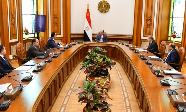 President Abdel Fattah El-Sisi meets with the cabinet members on Monday, March 30, 2020- press photo.