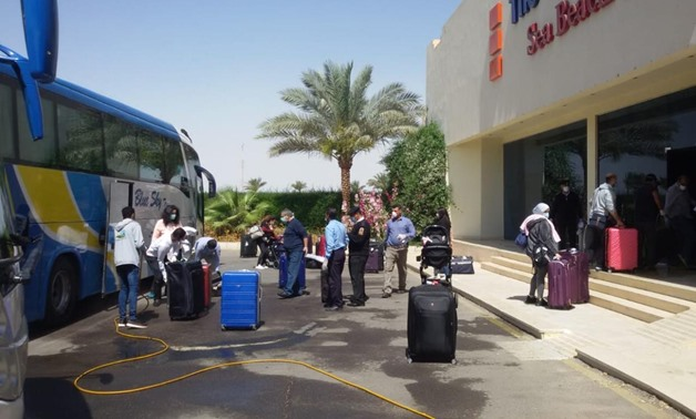 The luggage had been sterilized, and the passengers had been tested before they headed to a hotel where they would be quarantined for 14 days - Press photo