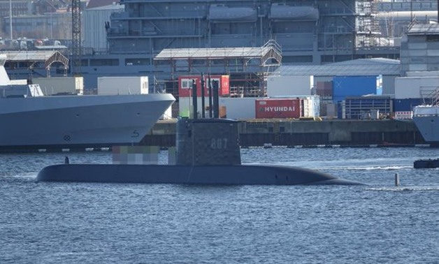 FILE – Photo of the Type 209 submarine – Courtesy of the Egyptian military spokesman