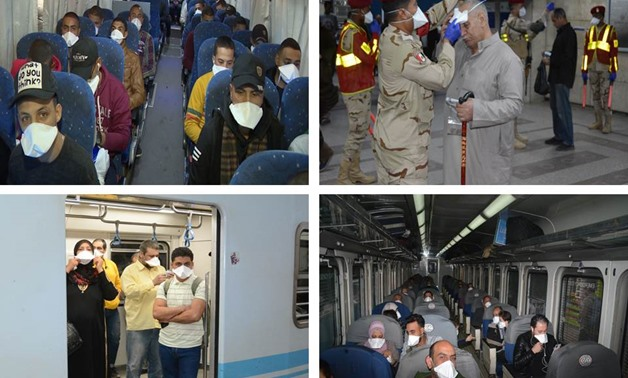 ِEgypt's Armed Forces of Egypt started providing free face masks for public transportation commuters and citizens- press photo